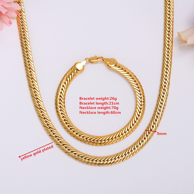 Gold Authentic 18 K Solid Gold Filled Mens Cuban Link Chain Necklace Sz Mmcelet 8 26inch Jewelry Sets Free Shipping