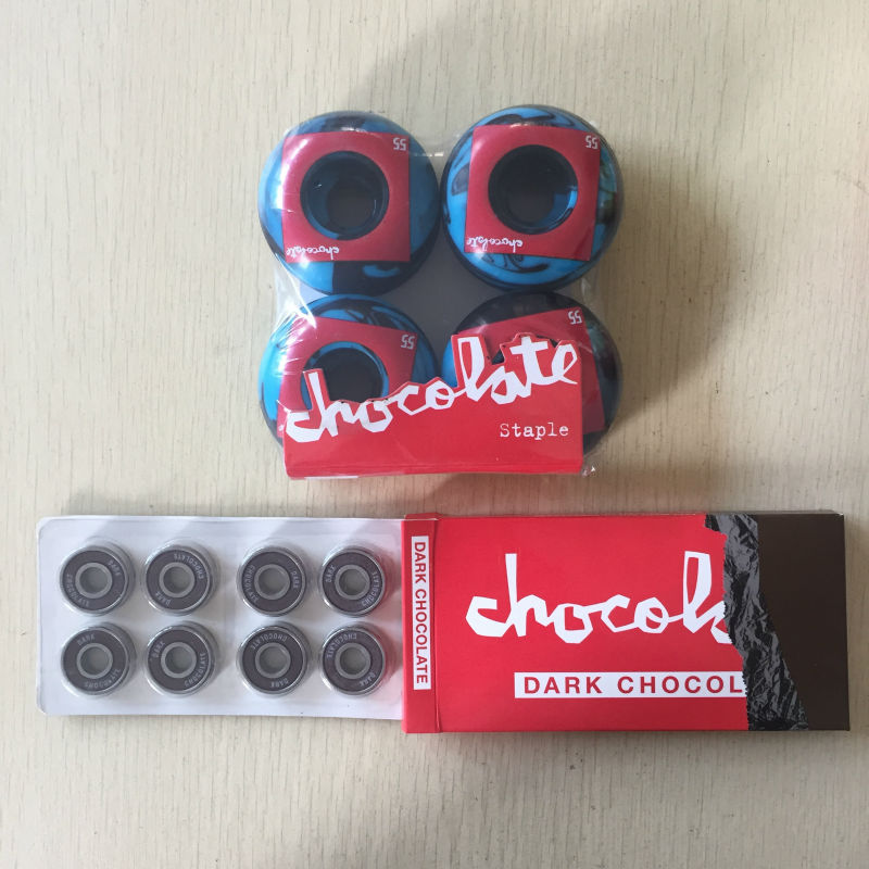 Free Shipping Skateboard Parts CHOCOLATE 101A Skateboard Wheels & CHOCOLATE ABEC-5 Bearings Skateboard for Skate Deck  50mm 53mm 101a chocolate skateboard wheels made by high density pu 4 wheels for skate trucks parts to set up for the board