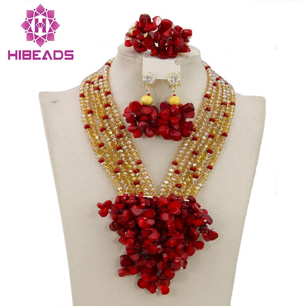 Mode bijoux africains ensembles mariage nigérian mode Costume bijoux ensemble or rouge cristal/corail perles livraison gratuite ABY560