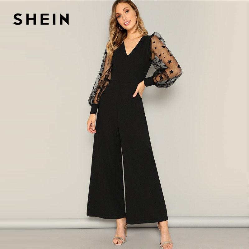 SHEIN Black Contrast Mesh Galaxy Print Sleeve Top And Wide Leg Pants Jumpsuits Women Elegant V Neck OL Work Plain Jumpsuit