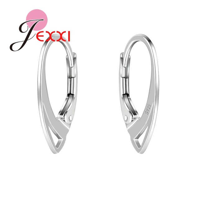 JEXXI S925 Stamp Women Girls Fashion Earring DIY Connector Jewelry Accessories Making Accessory Wholesale 100 PCS/50 Pairs
