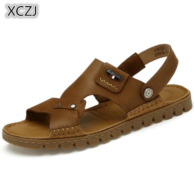 XCZJ 2018 summer mens sandals soft bottom non-slip leather men tendon bottom beach shoes leather large size mens sandals 37-46
