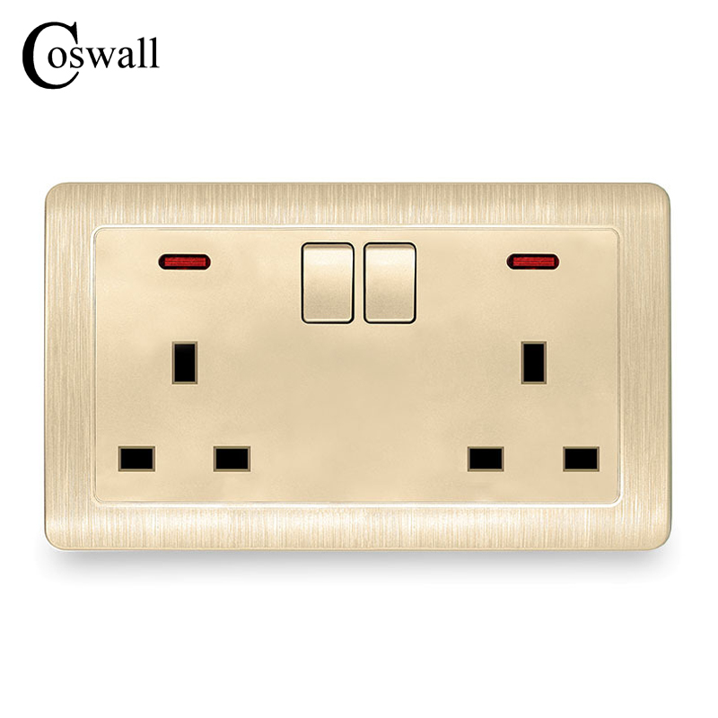 Coswall Wall Power Socket 2 Gang 13A UK Standard Switched Outlet With Red Neon Indicator 146*86mm Brushed Gold Panel uk socket wallpad crystal glass panel 110v 250v switched 13a uk british standard electrical wall socket power outlet uk with led