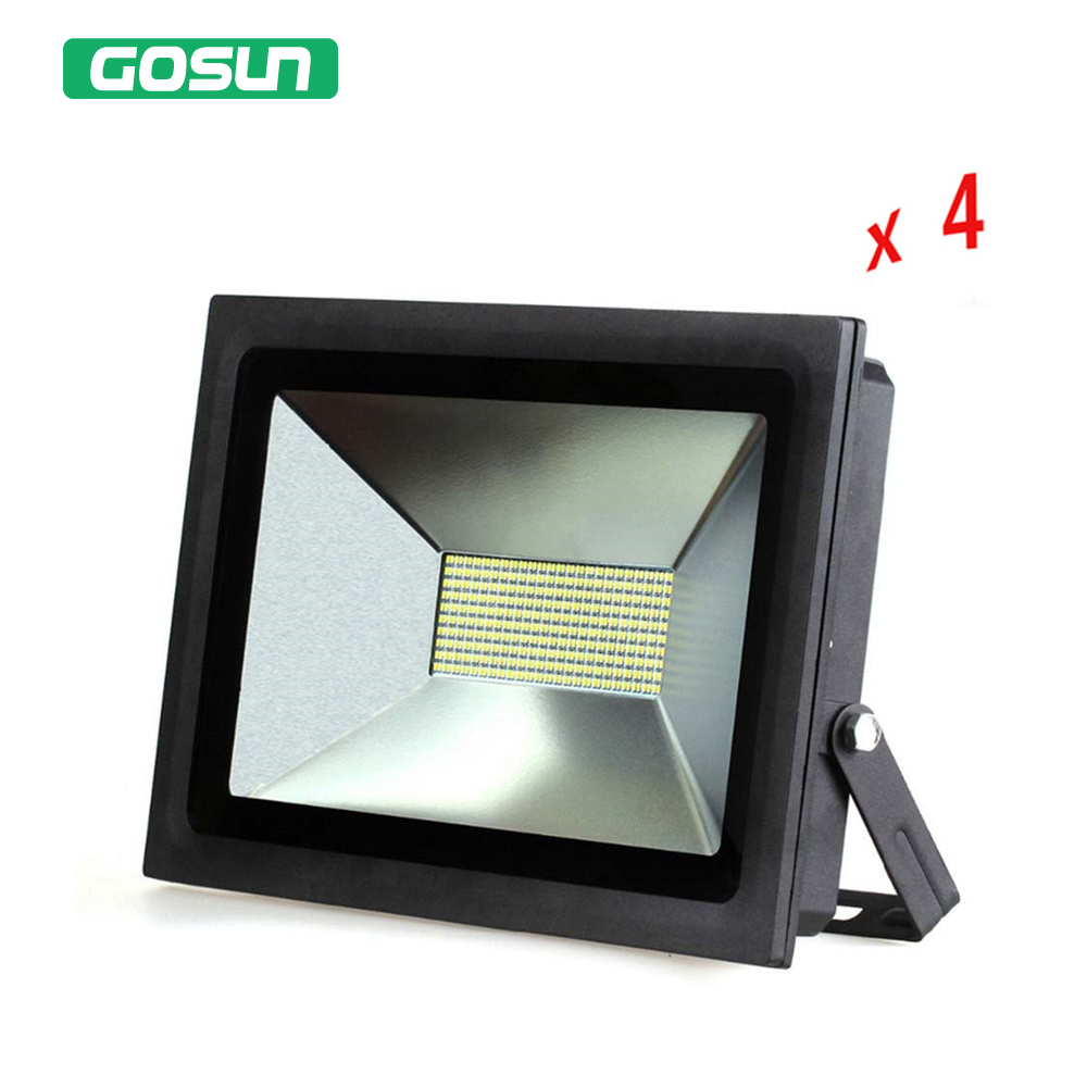 4 Pcs/lot 100W LED Floodlight Spotlight Outdoor Lighting LED Flood Light Lamp Warm Cold White 110V 220V Waterproof Led Light ac220v led flood light 30w 50w 70w 100w 150w reflector led floodlight waterproof ip65 spotlight warm cold white outdoor lighting