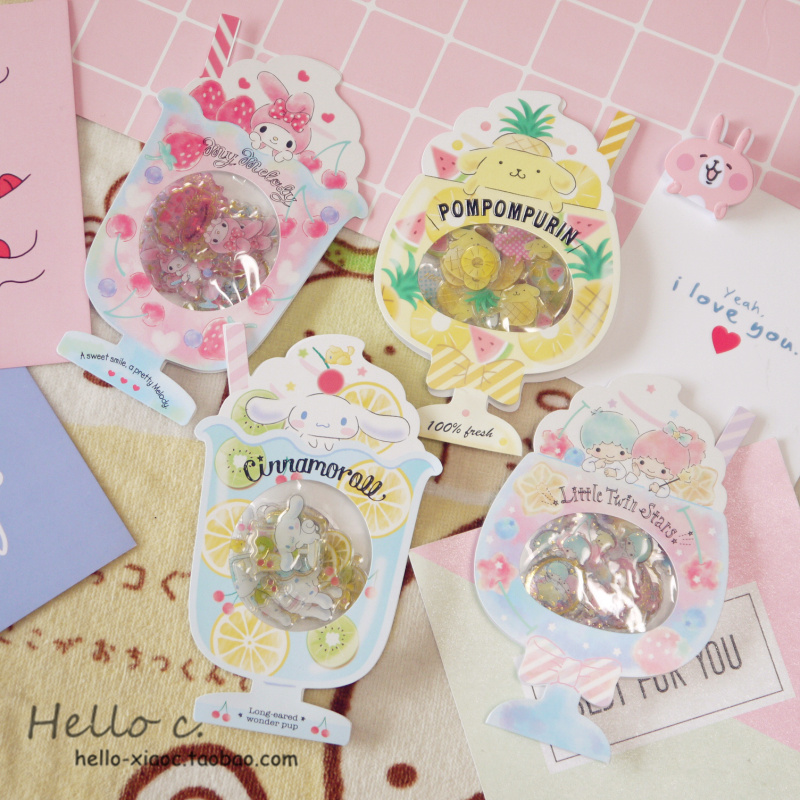 Cartoon  Seal Flake Little Twin Stars Cinnamoroll Pudding Dog PVC Sticker Icecream Decoration Index Stickers For Kids Toys