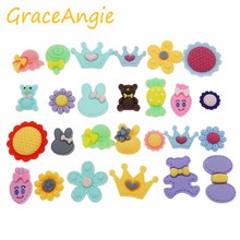 GraceAngie 20pcs/pack Resin Fairytale Romantic Sweet Style Sweetheart Flower Princess Crown Bow Shape Jewelry Accessories