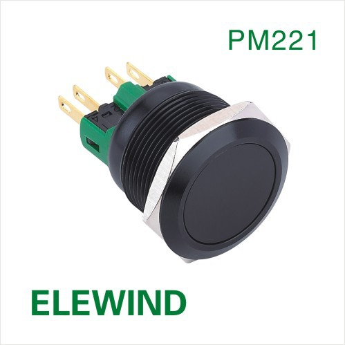ELEWIND 22mm Black aluminum  Momentary push button switch(PM221F-11/A) elewind 22mm black illuminated power symbol push button switch pm221f 11zet b 12v a
