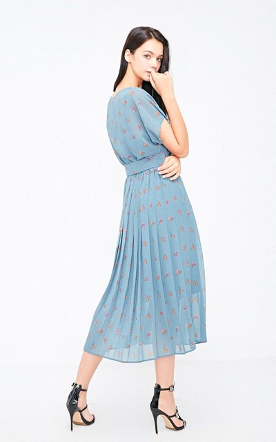 Floral Hemline Pleated Summer Beach Dress