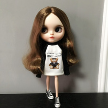 Black White Patchwork Printing Long Sleeve Hoodie Sweatshirt for Neo lythe Doll 1/6 Pullip Doll Barbies T-shirt Doll Accessories цена