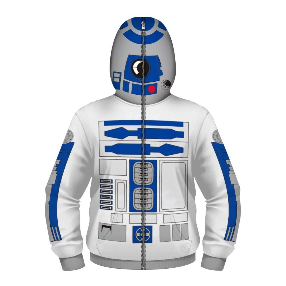Kids Star Wars r2-d2 Robot Cosplay Costumes Hoodies Children Baseball Uniform Masked Zipper Sweatshirt Spring Autumn