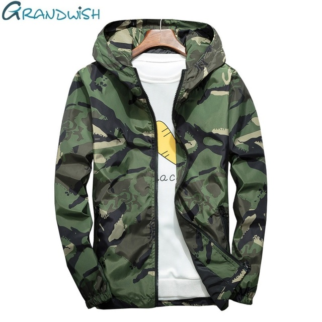 Grandwish Plus Size 5XL 6XL 7XL Camouflage Jacket Men Bombers Military Mens Hooded Windbreaker Large Size Men's Jacket ,DA569