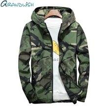 Grandwish/плюс Размеры 5XL 6XL 7XL камуфляжная куртка Для мужчин бомбардировщики военные Для мужчин s ветровка с капюшоном большой Размеры Для мужчин куртка, DA569