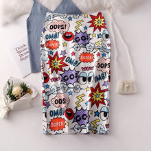 2019 New Summer Woman High Waist Cute Cartoon Printing Graffiti Pencil Skirt Korean Style Slim Fit Stretch Bodycon Midi