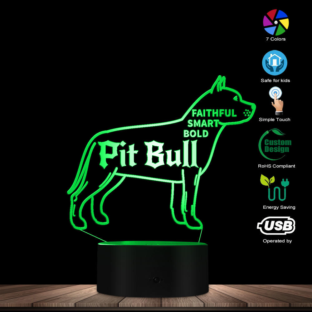 Various Dog Breeds 3D Optical illusion Night Light Dachshund Pug Bulldog Terrier Chihuahua Beagle Table Lamp Gift For Lover