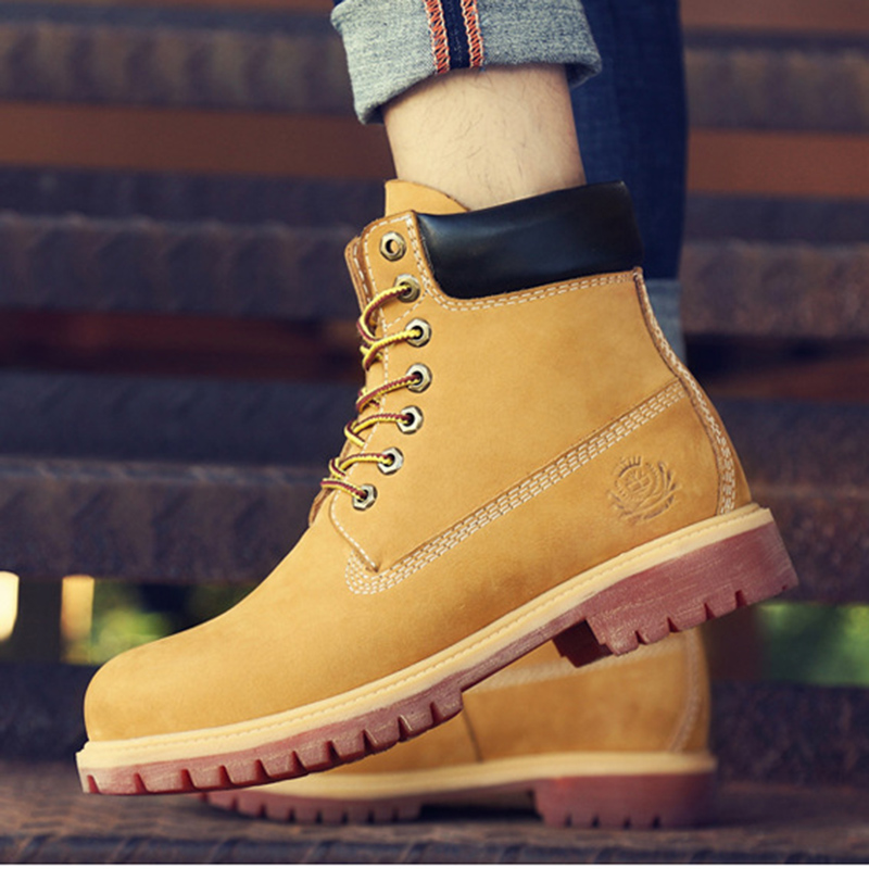 Big Size:36-47 Genuine Leather Boots Men Waterproof Cow Suede Mens Winter Boots Lace Up Ankle Snow Boots High Quality Shoes Men