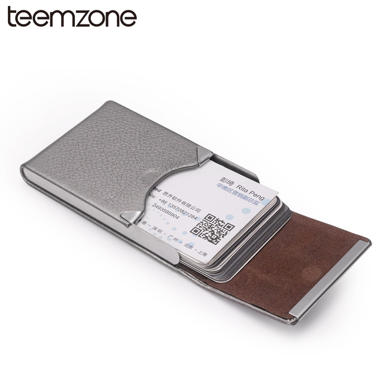 Fashion Trend Men Women's Unisex Leather Stainless Steel Hasp Business Name ID Credit Card Holder Case Large Capacity Card Bag