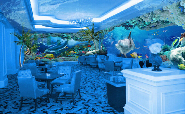 childrens bedroom theme room restaurant ktv3d ocean underwater world large mural wallpaper wallpaper - Underwater World Restaurant