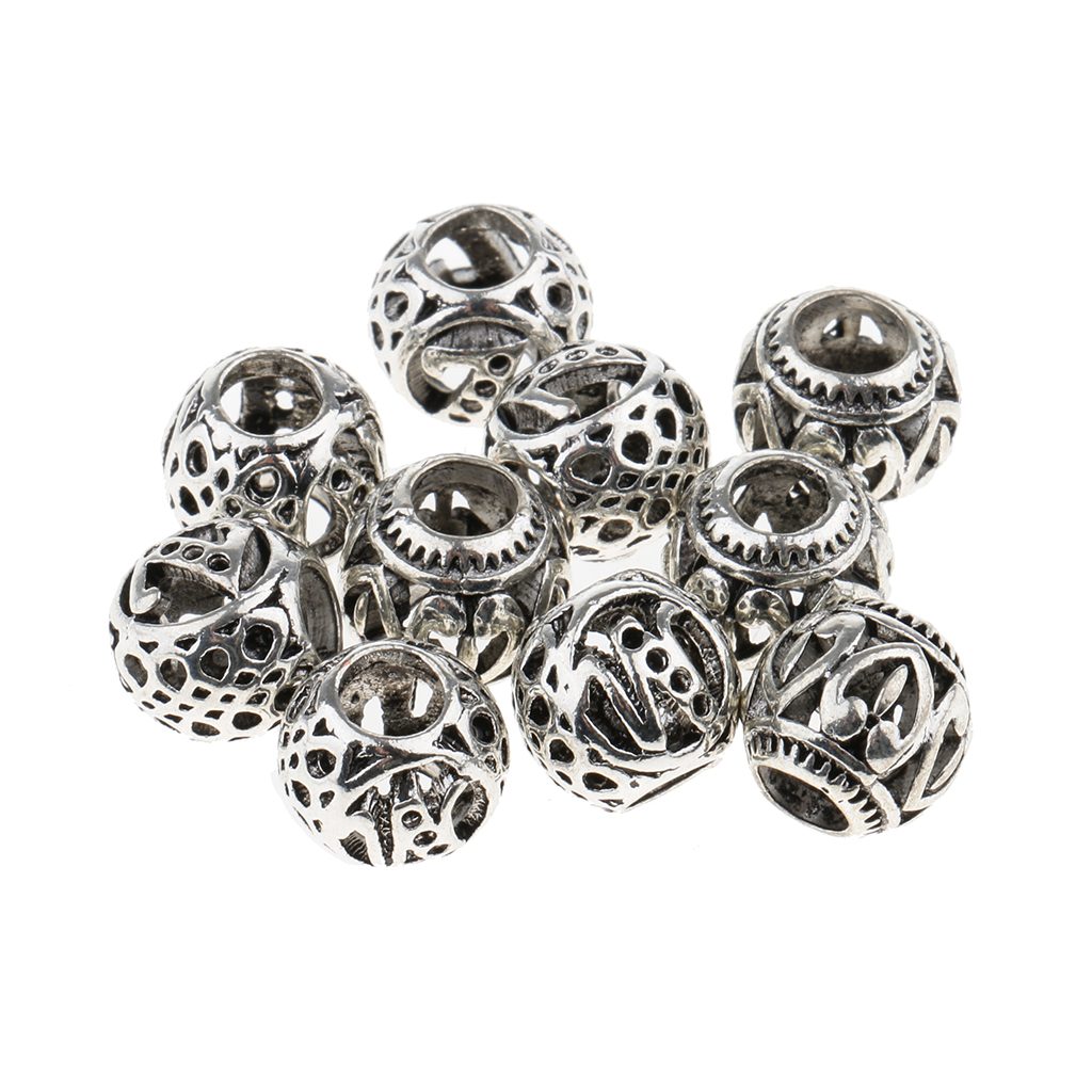 10pcs Mixed Designs Dread Locks Braiding Beads Silver Metal Cuffs Hair Accessories DIY Jewelry Decoration bicycle helmet