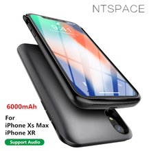 6000mAh Battery Charger Case For iPhone XR Power Portable Back Clip Xs Max Bank With Audio
