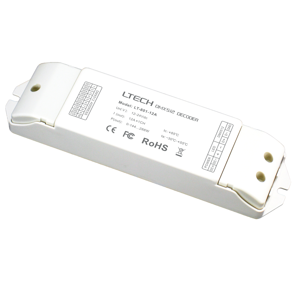 New LTECH LT-801-12A;1CH DMX-PWM DMX512 Decoder;DC12-24V input;12A*1CH output 1 Channel Led single color Strip DMX Decoder new ltech led dmx decoder 4ch cc rgb strip dmx decoder dc12 48v in 700ma 4ch output dc12 46v output 4 channel dmx pwm decoder