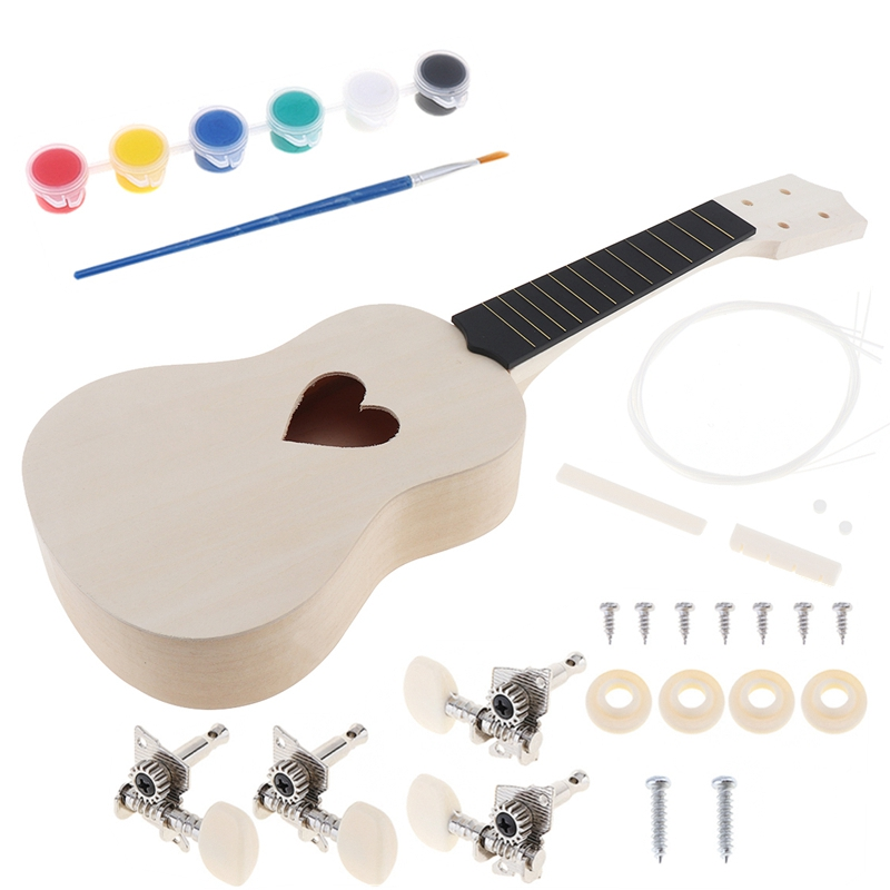 21 Inch Heart Shape Hole Soprano Ukulele DIY Kit Basswood Hawaii Guitar Handwork Painting Ukelele For Parents-child Campaign