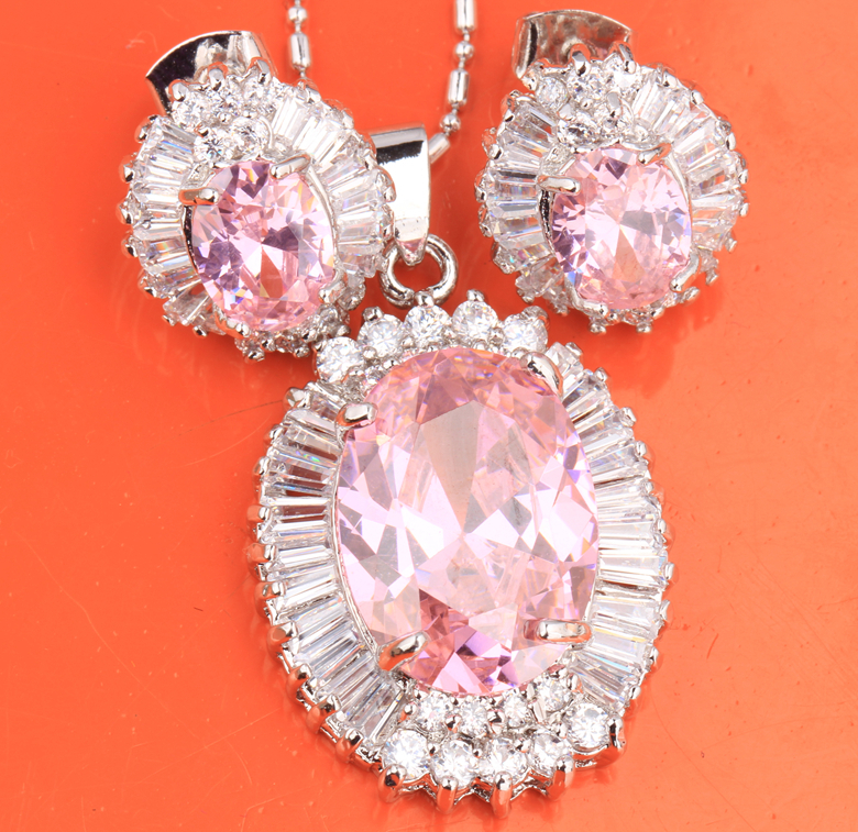 e84cfd7147d0 Special Offer Gallant Pink Fashion 925 Sterling Silver Jewelry Sets  Earrings Pendant For Women Free Shipping S8179
