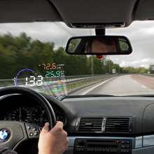 Excelvan A8 5.5″ Auto Car Head-Up Display HUD Projector OBD II Vehicle Speeding Warning MPH with Anti-slip Pad Fuel Speedometer