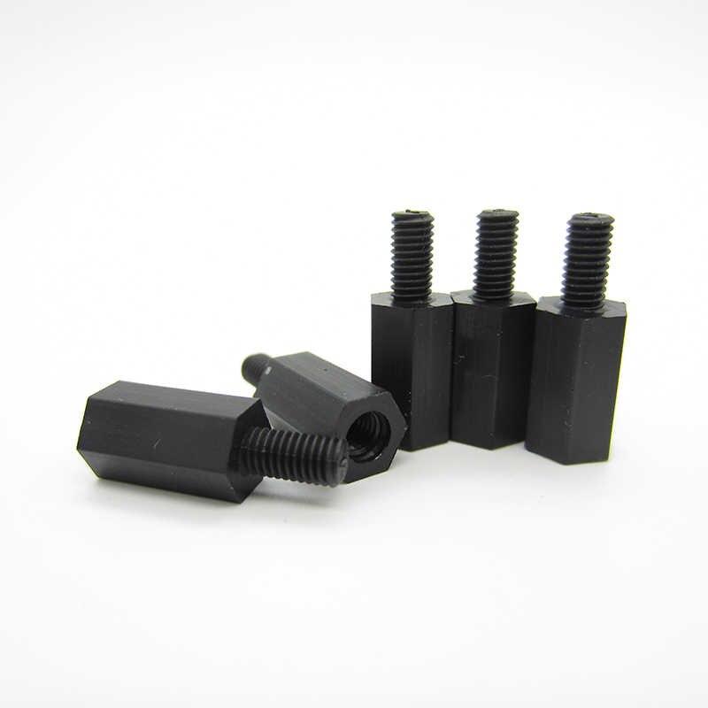 50 pces m2/m2.5/m3/m4 * l + 6mm rosca preto/branco espaçamento parafuso plástico para pcb placa-mãe fixa náilon espaçador pilar