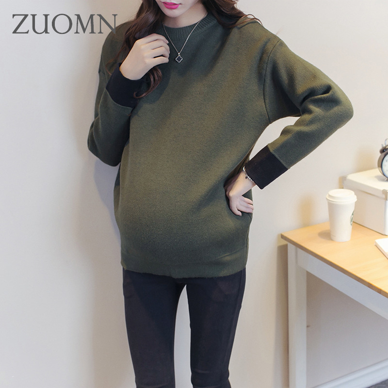 Korean Pregnant women fashion sweater long sleeve blouserender brief paragraph clothing maternity blouse render clothes YL289 edition in the fall of new women s wear long sleeved sweater knit render unlined upper garment female hedge brief paragraph