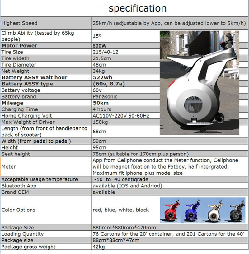 New 19 Inch Electric Motorcycle Adult With APP One Wheel Self Balancing Scooters Powerful 800W 60V Electric Unicycle One (4)