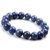 Genuine Natural Blue Gem Stone Crystal Round Beads Jewelry Women Men Stretch Charm Bracelet 12mm