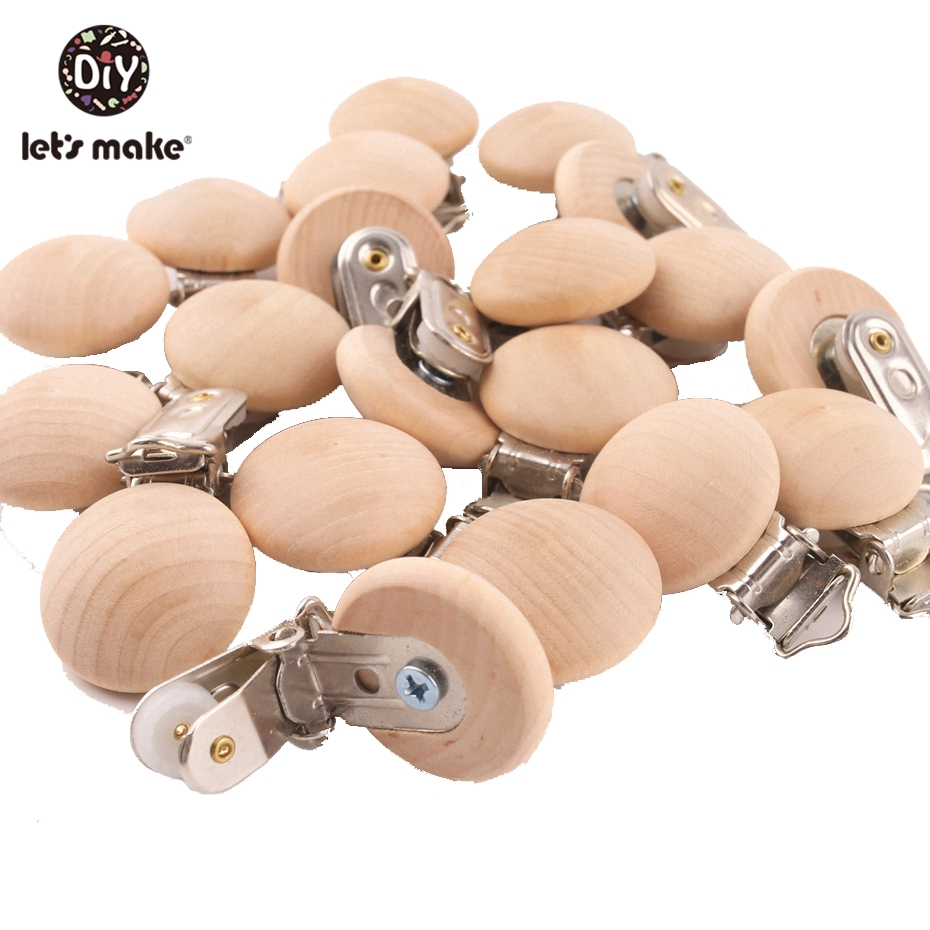 Let's Make Natural Wooden 50pc Pacifier Beech Metal Clips Holder Round Teether Pacifier Wooden Teething Beads DIY Pacfier Chain