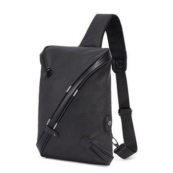 Męska torba na klatkę piersiową wodoodporna z zabezpieczeniem przeciw kradzieży odblaskowe torby listonoszki do ładowania USB torebka Sling Flap Male
