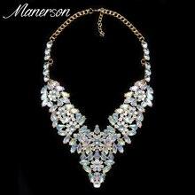 2016 Fashion Luxury Jewelry Women Flower Necklace Pendant AB Crystal Collar Choker Boho Collier Femme Maxi Statement Accessory