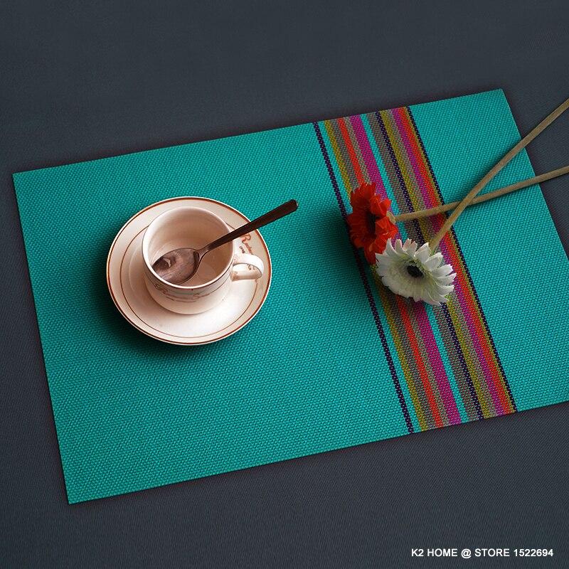 Toalha de Mesa Conjunto de 4 Casa Decorativos 45×30 cm Colocação da Tabela Mesa Moda Pvc Placemat Tabela Pad Lugar Mancha resistente Mat Pcs
