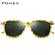 FONEX Pure B Titanium Acetate Polarized Sunglasses Men 2019 Brand Designer Vintage Square Mirrored Sun Glasses for Women T854