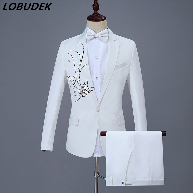Shining Crystals White Male Suits Adult Costume Bar Singer Stage Chorus Outfit Prom Party Host Wedding MC Performance Clothes