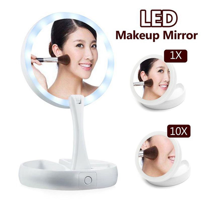 New Folding Rotating 10x Magnifying Double Sided Makeup Mirror Tabletop Led Light