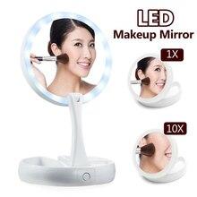 Новый складной вращающийся 10x увеличительное двухстороннее зеркало для светодио дный макияжа Настольный светодиодный свет