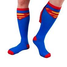 Nuevo de alta calidad suave y cómodo 1 par largo batmen hombres mujeres calcetines medias de mujer maravilla traje de superman accesorios