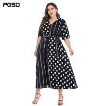 PGSD Summer Office Lady Short sleeve wave points stripes stitching Bandage Chiffon Dress Big Size Fashion Plus women clothes 4XL