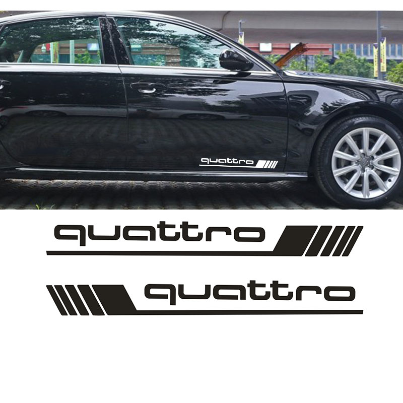 luluda-04 2 pcs Car Styling For Quattro Side Door Decals Stickers for Audi Quattro A4 S4 S3 S5 S7 TT RS free ship turbo k03 29 53039700029 53039880029 058145703j n058145703c for audi a4 a6 vw passat 1 8t amg awm atw aug bfb aeb 1 8l