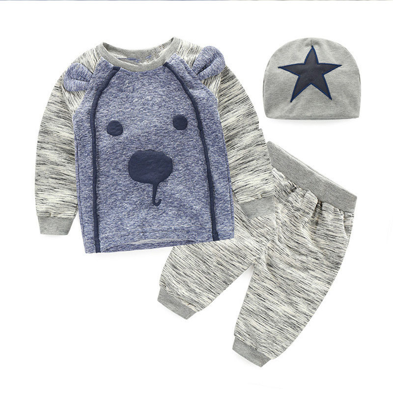2017 Baby Clothing Sets 3Pcs Autumn Winter Baby Boys Bear Thicker Clothes Infant Baby Tops T-shirt+Pants+Hat Warm Outfits Suit