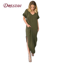 Dreszdi 2018 Casual Soft Maxi Dress Women Long Sleeve Loose Shirt Dress Ruffles Sleeve Knitted Long Dresses
