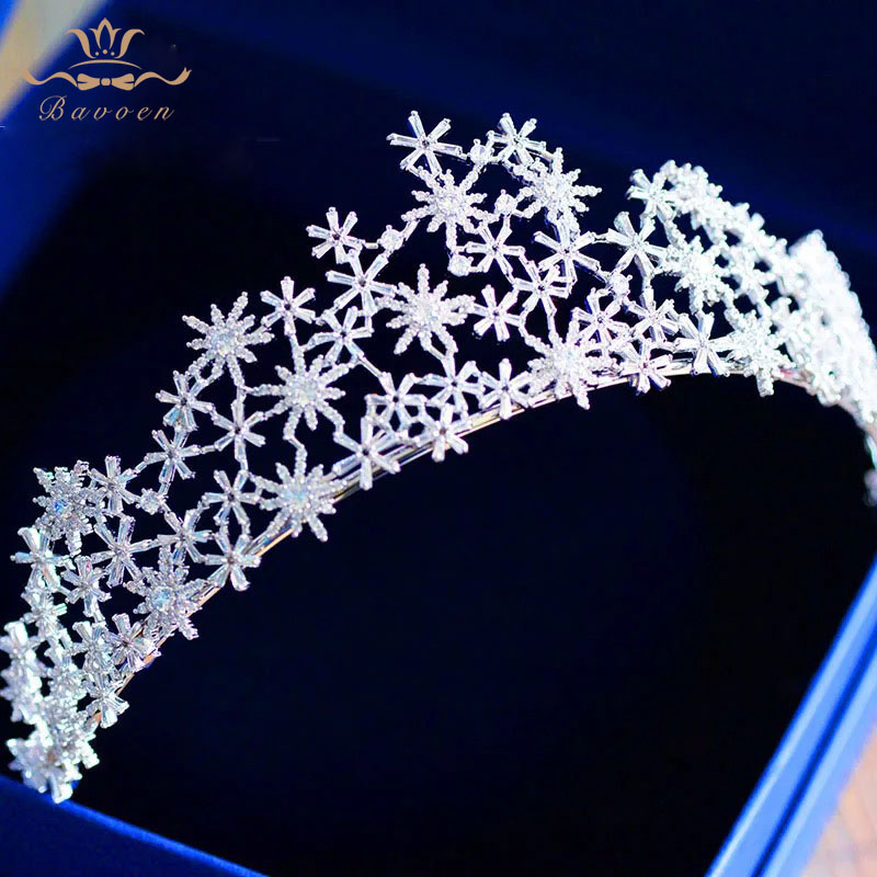 все цены на Bavoen Top Quality Wedding Hair Accessories Silver Brides Zircon Tiaras Crown Sparkling Hairbands Evening Dress Accessories онлайн