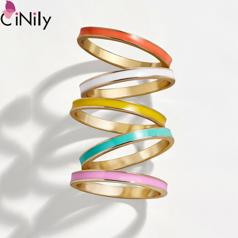 Cinily Jewelry Birthday-Rings Wedding-Party Gift-Size Silver Delcate Multicolor Women