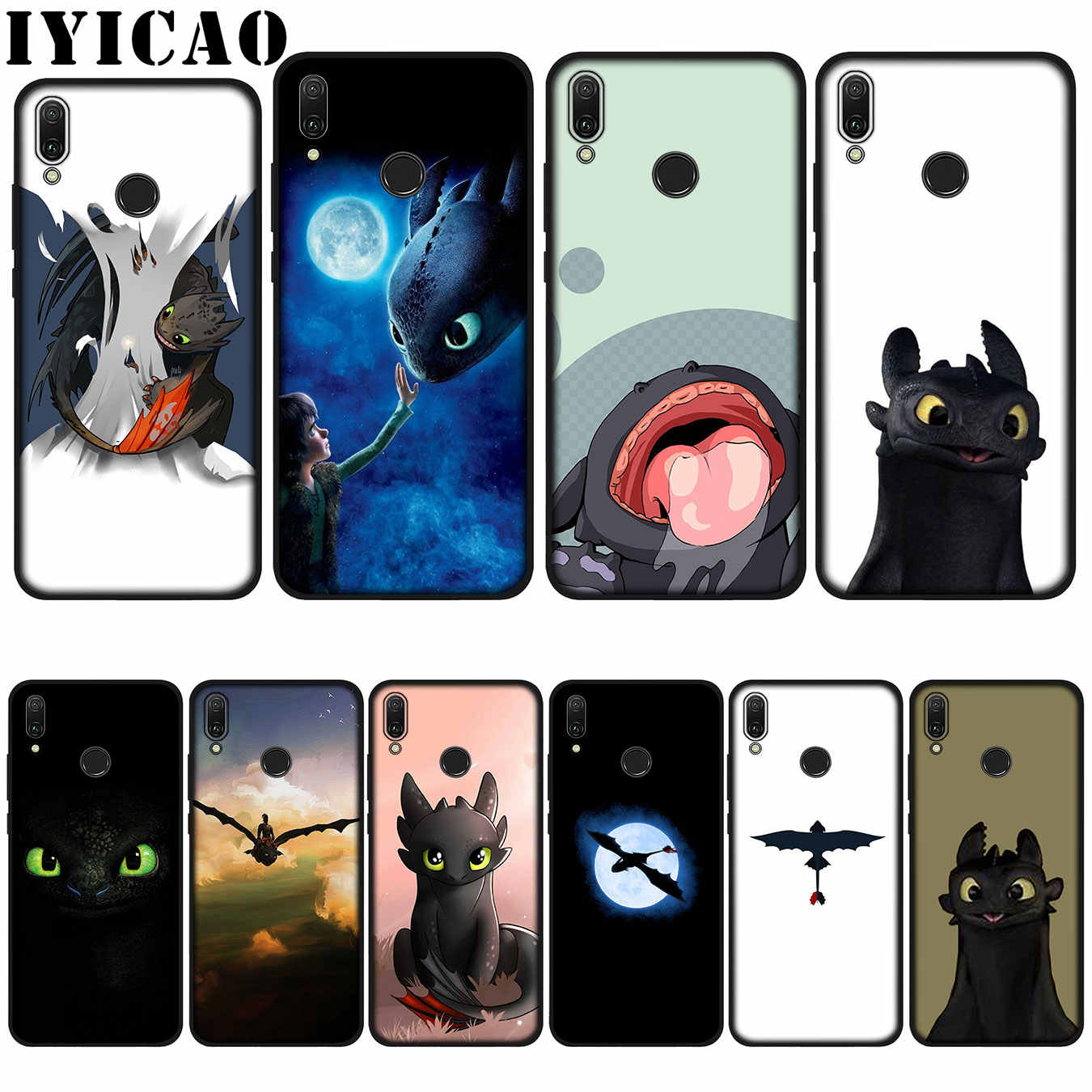 IYICAO sdentato How To Train Your Dragon Custodia Morbida per Huawei P20 Pro P10 P8 P9 P30 Lite Mini 2017 P di Smart 2019