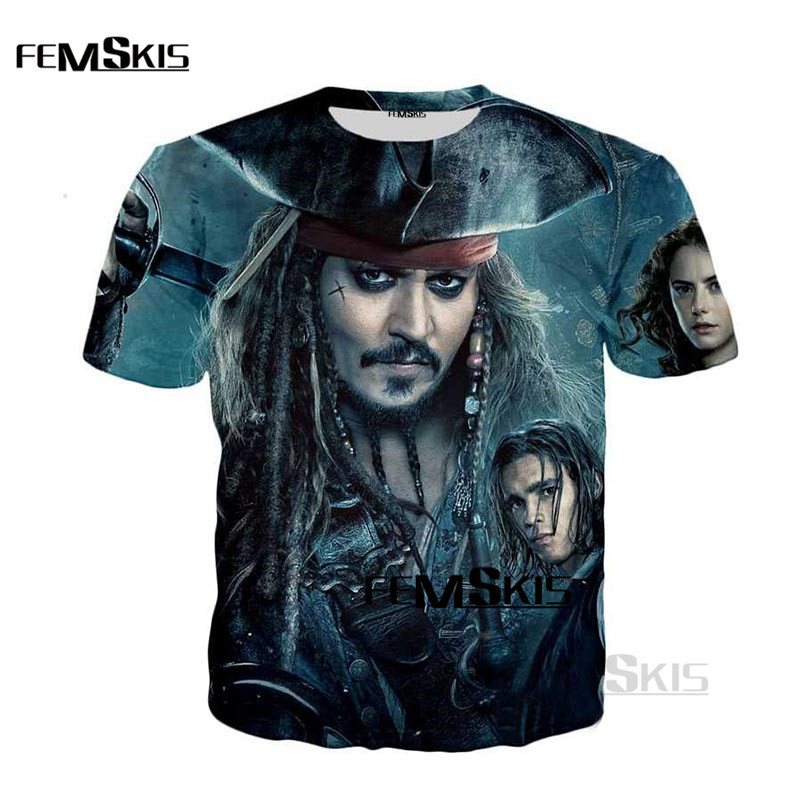 High Quality Short Sleeve T-Shirt Summer Mens T-Shirt 3D T-Shirt Print Caribbean Genius Pirate Fashion Casual T-Shirt Top