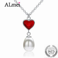 Almei Red Heart 100 Real 925 Sterling Silver Pearl Pendant Long Chain Necklace Jewelry Wedding Accessories