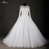 RSW736 Tulle Váy Cao Cổ Dài Tay Áo Wedding Dress Bóng Gowns Trung Quốc Wedding Dresses